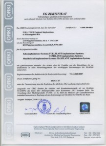 Zahnimplantat Typ: Fullplant - Zertifikat